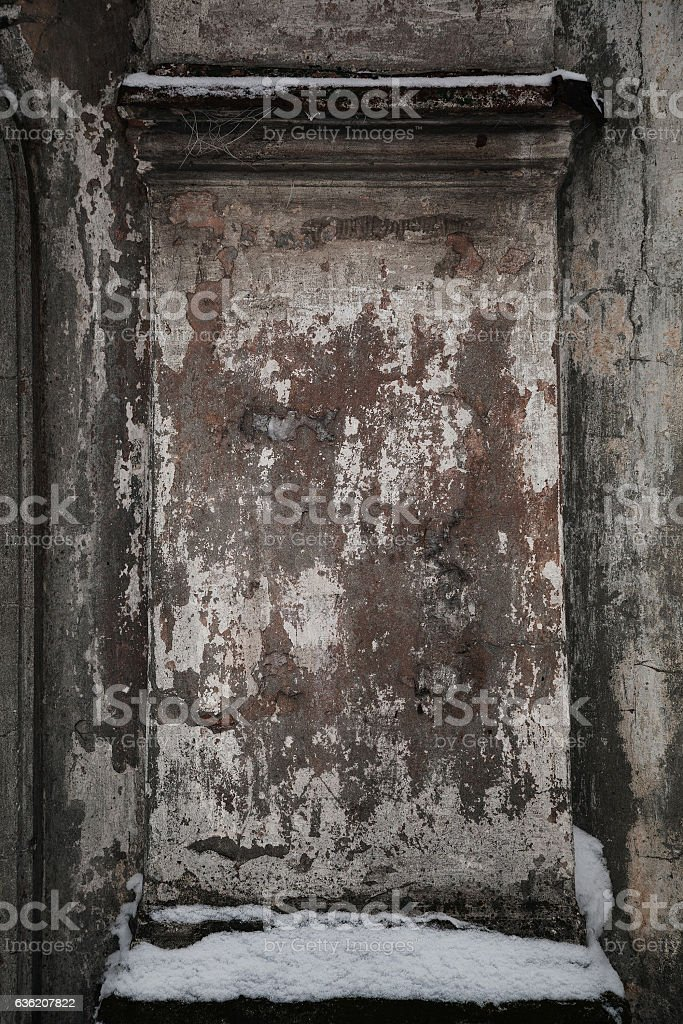 Fragment of old stone wall. The old building. stock photo