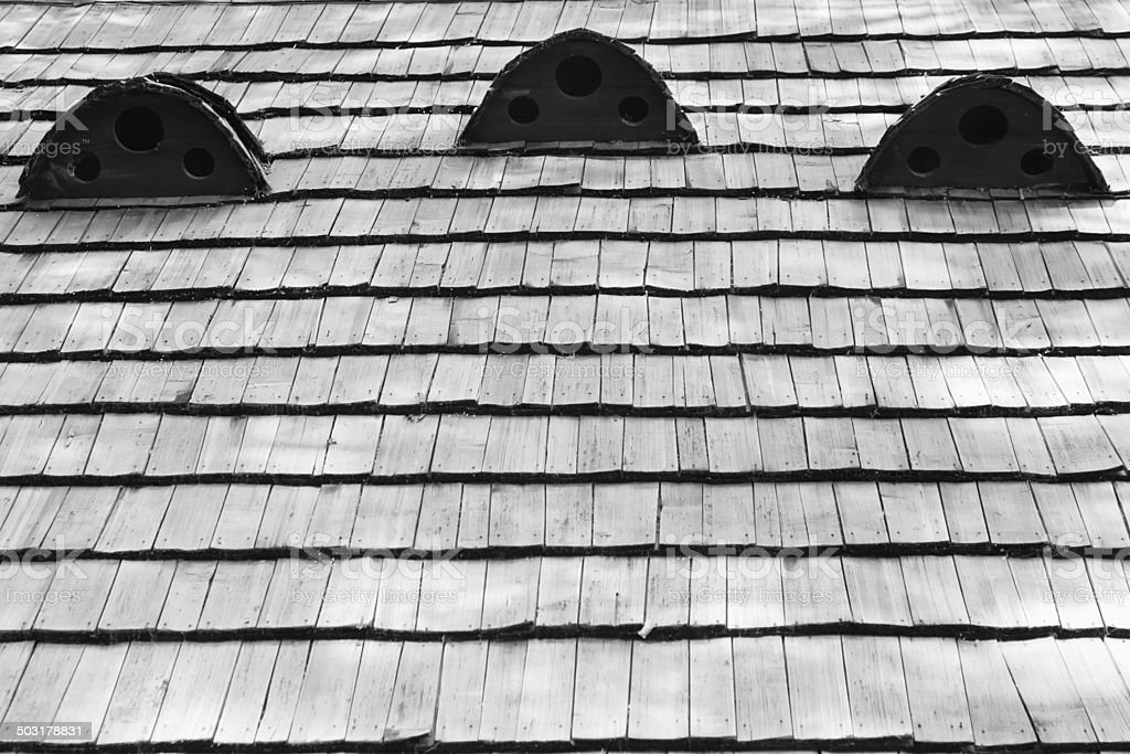 Fragment of old wooden roof stock photo