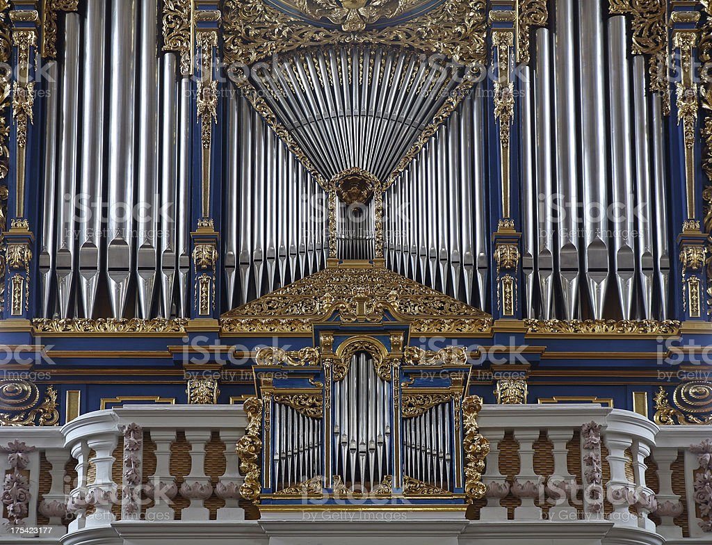 Fragment of pipe-organ in the St.Jakob Dom, Innsbruck Austria royalty-free stock photo