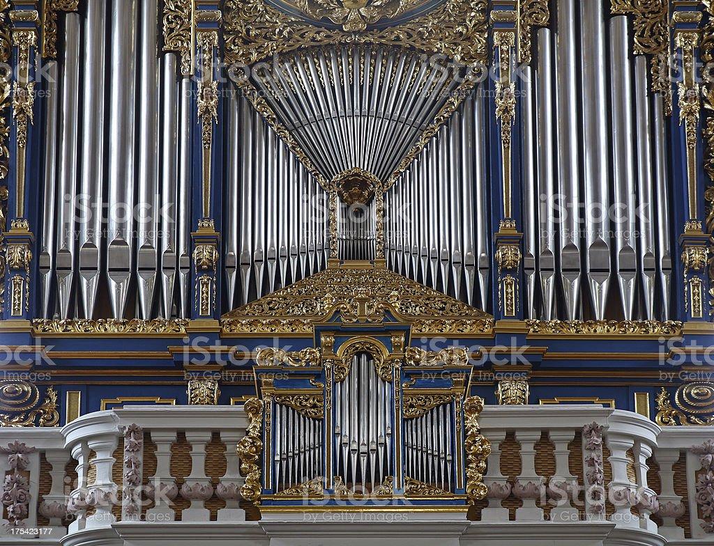 Fragment of pipe-organ in the St.Jakob Dom, Innsbruck Austria stock photo