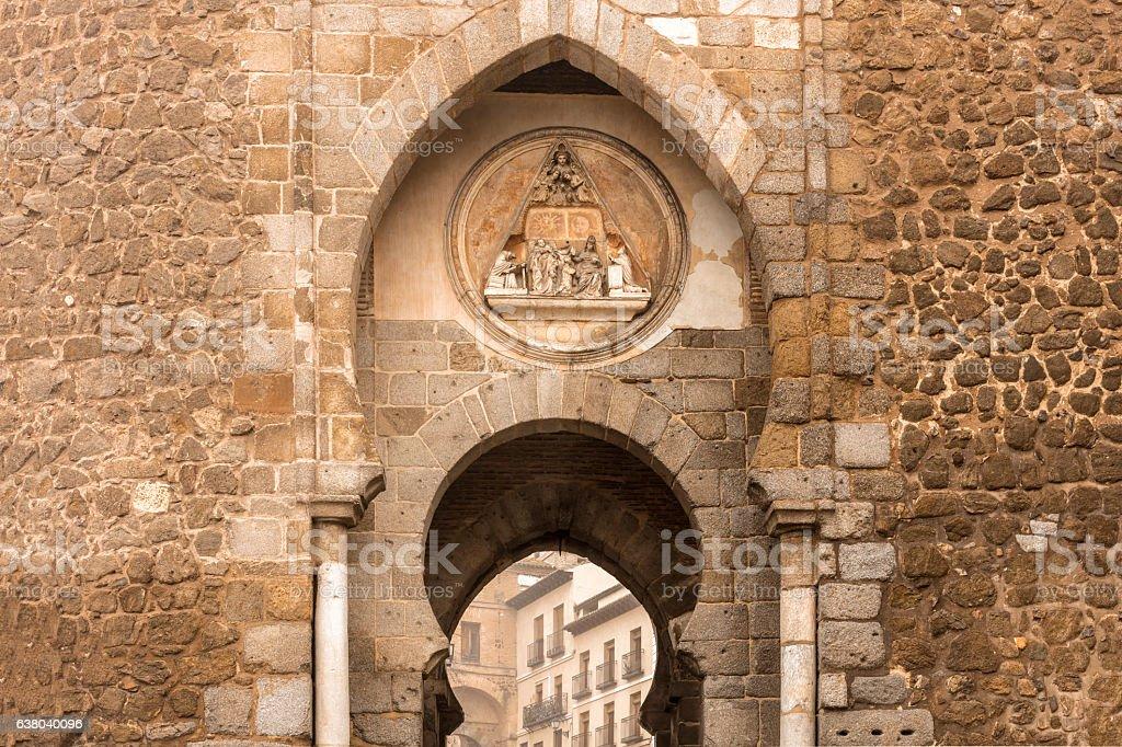 Fragment of Puerta del Sol in Toledo, Spain, toned stock photo