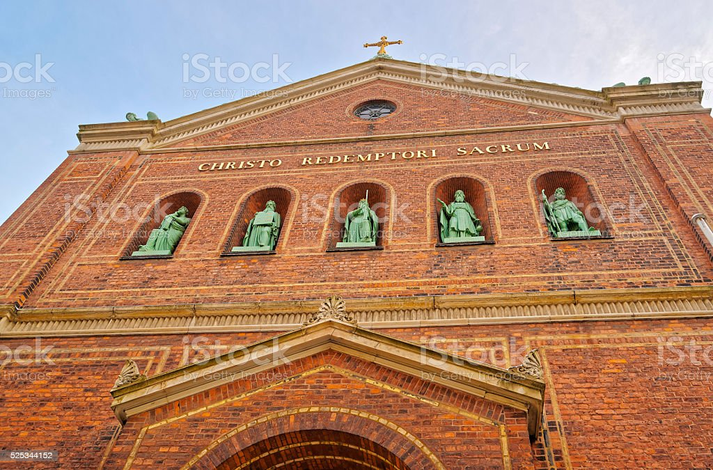 Fragment of St Ansgar Cathedral in Copenhagen stock photo