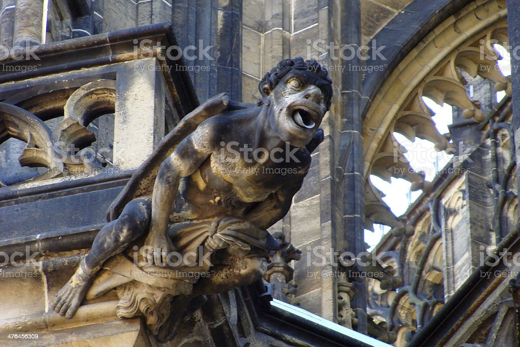 Fragment of St. Vitus gothic cathedral in Prague royalty-free stock photo