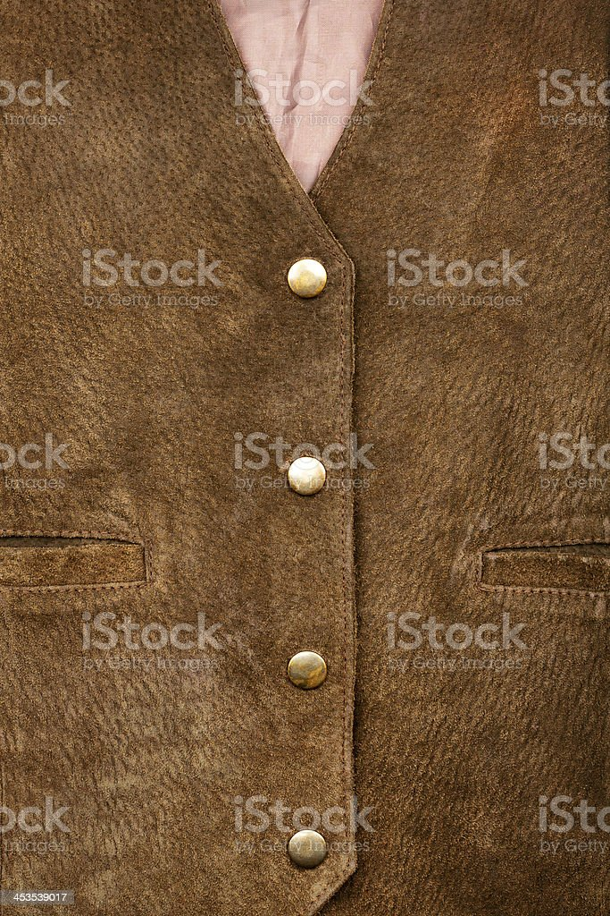 Fragment of suede vest royalty-free stock photo