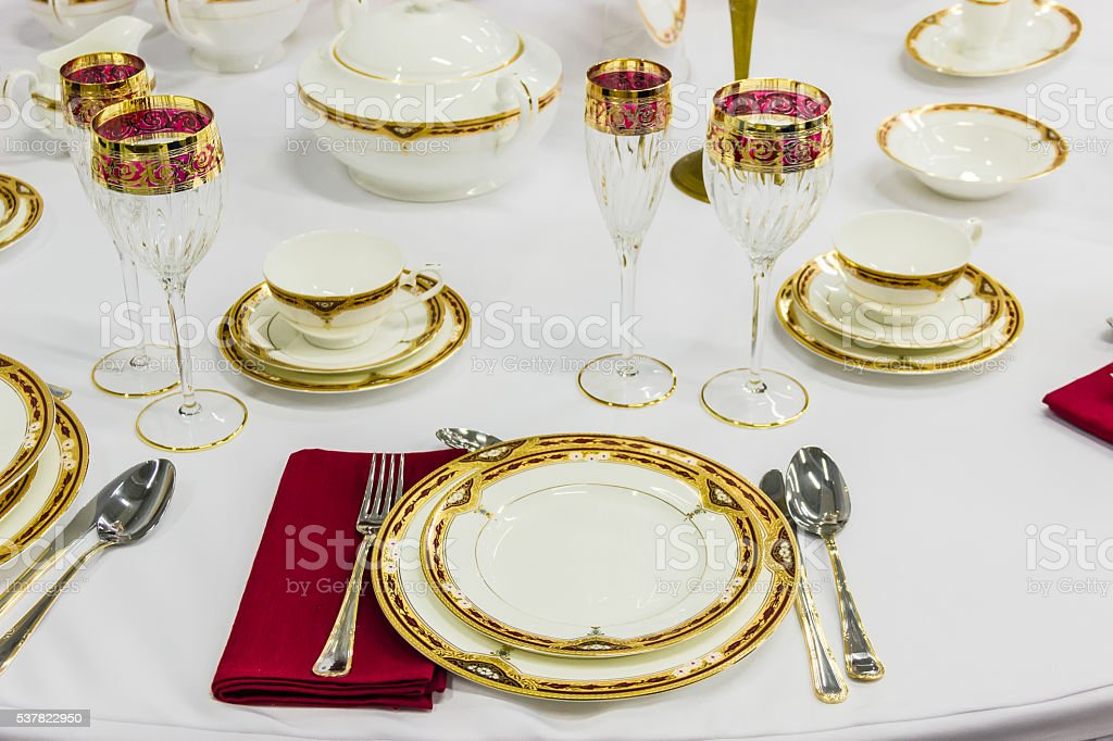 Fragment of table setting stock photo