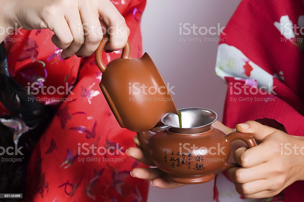 fragment of tea set royalty-free stock photo