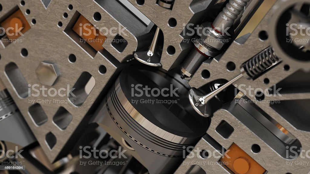 fragment of the engine. 3d abstact background stock photo