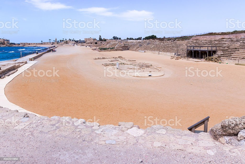 Fragment of the hippodrome in the ruined city of Caesarea stock photo