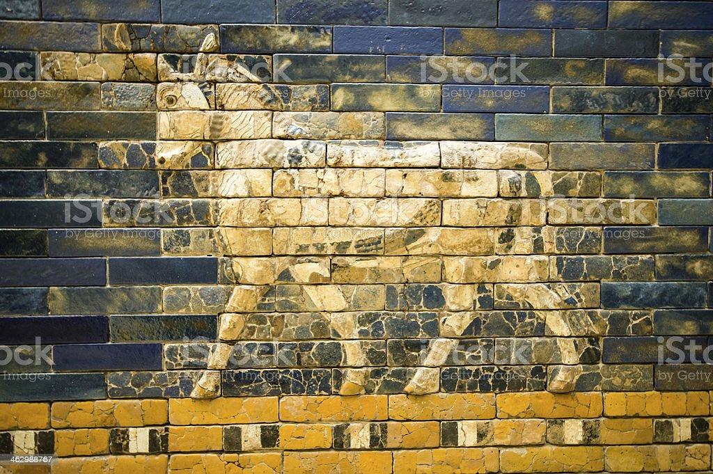 fragment of the Ishtar Gate stock photo