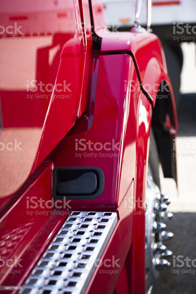Fragment of the modern red semi truck stock photo