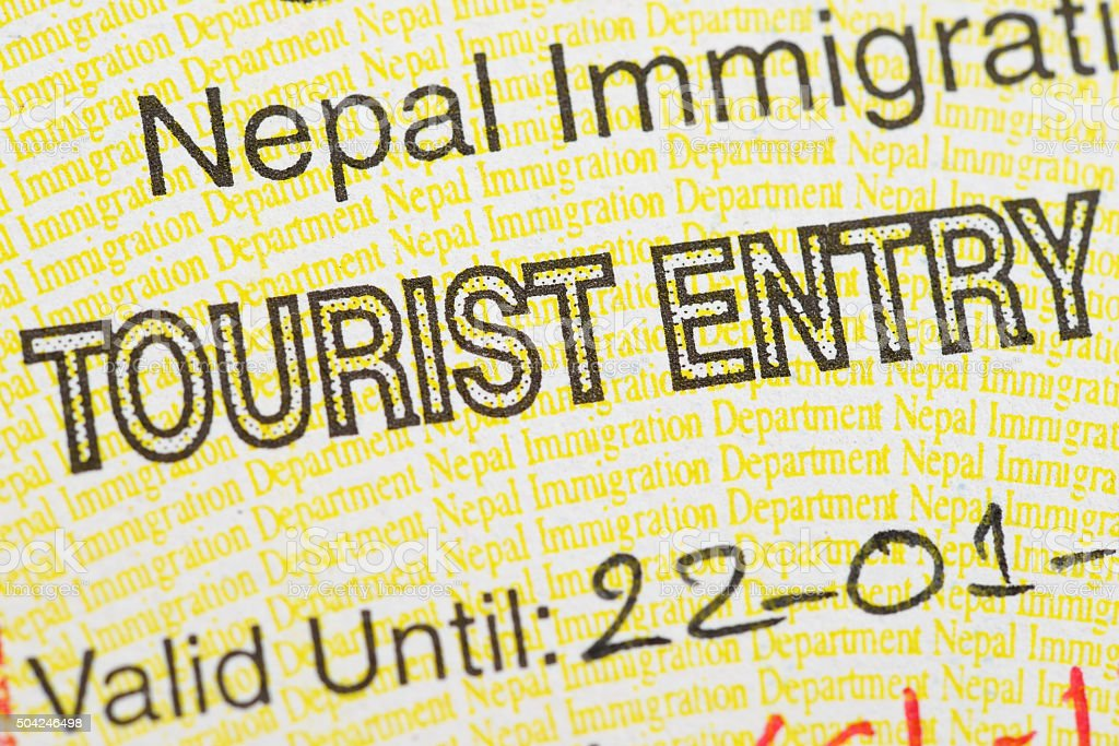 Fragment of the Nepal tourist entry visa. stock photo