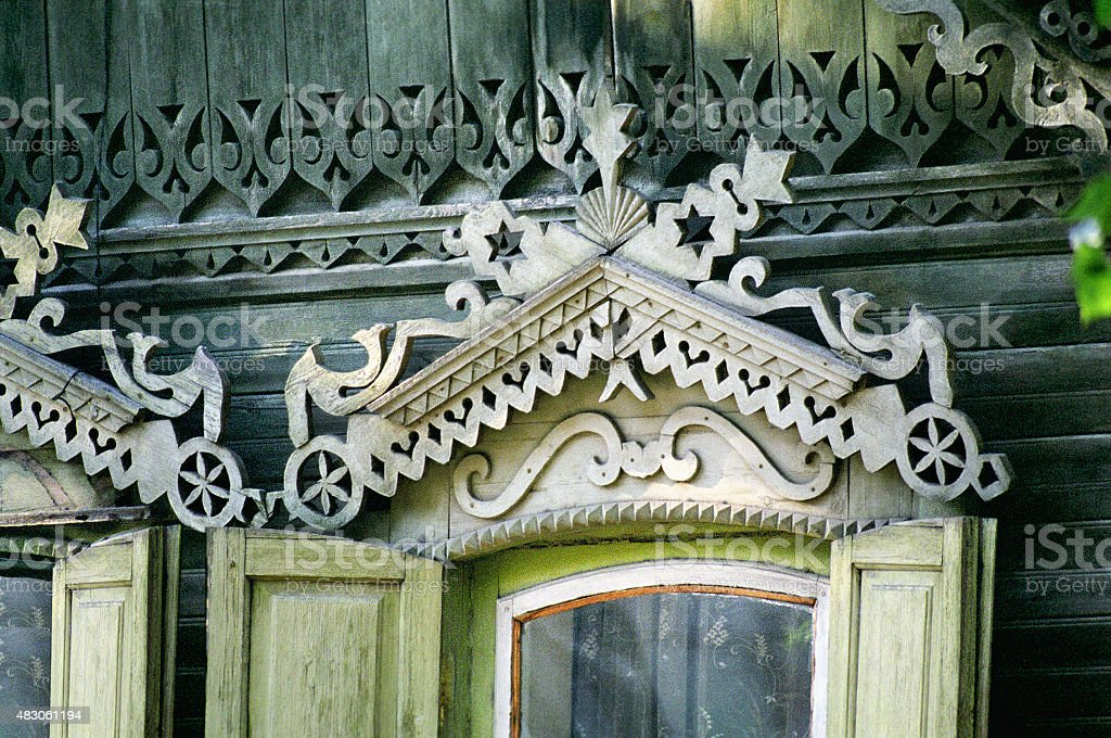 Fragment of the old Russian Window nineteenth century. stock photo