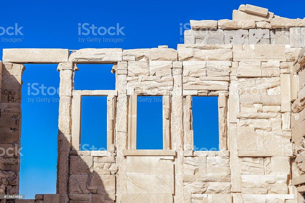 Fragment of the Old Temple of Athena, Acropolis, Athens, Greece stock photo