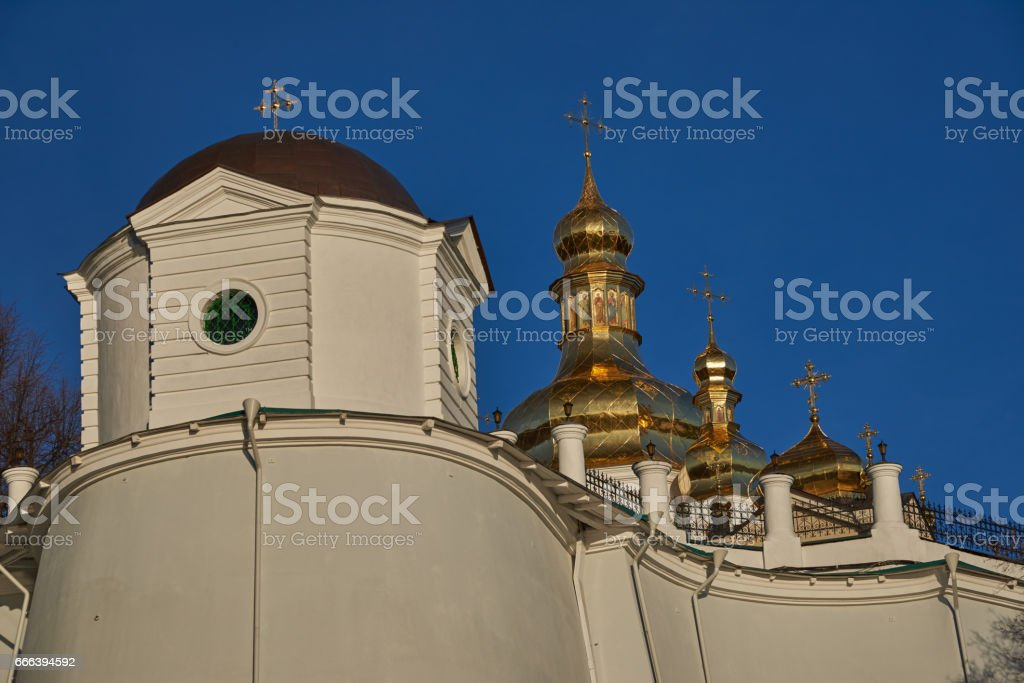 Fragment of the retaining wall of the Kiev Pechersk Lavra stock photo