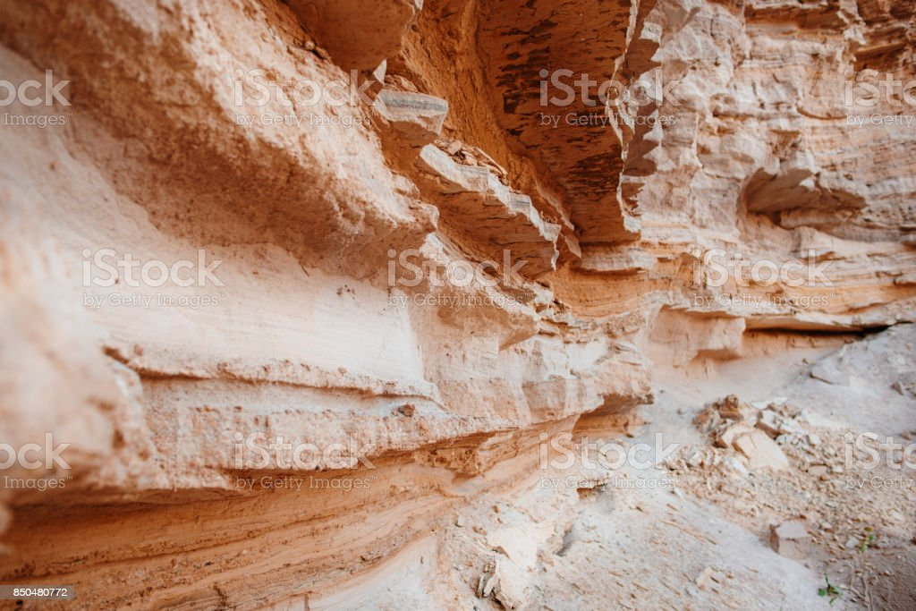 A fragment of the rock in the desert stock photo