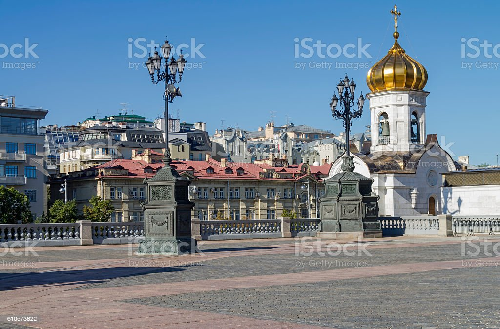 Fragment of the square at the Christ the Savior Cathedral. stock photo