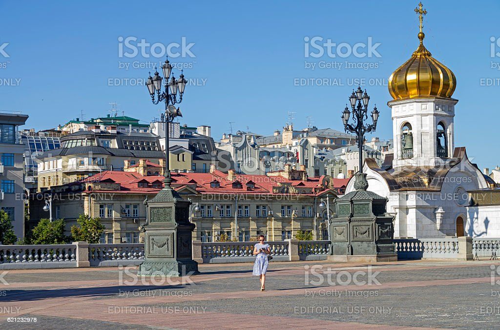 Fragment of the square at the Christ the Savior stock photo