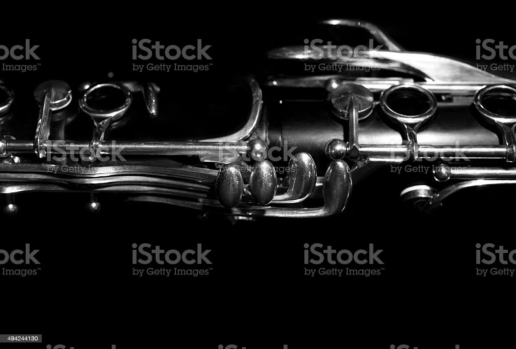 Fragment of the valves clarinet stock photo