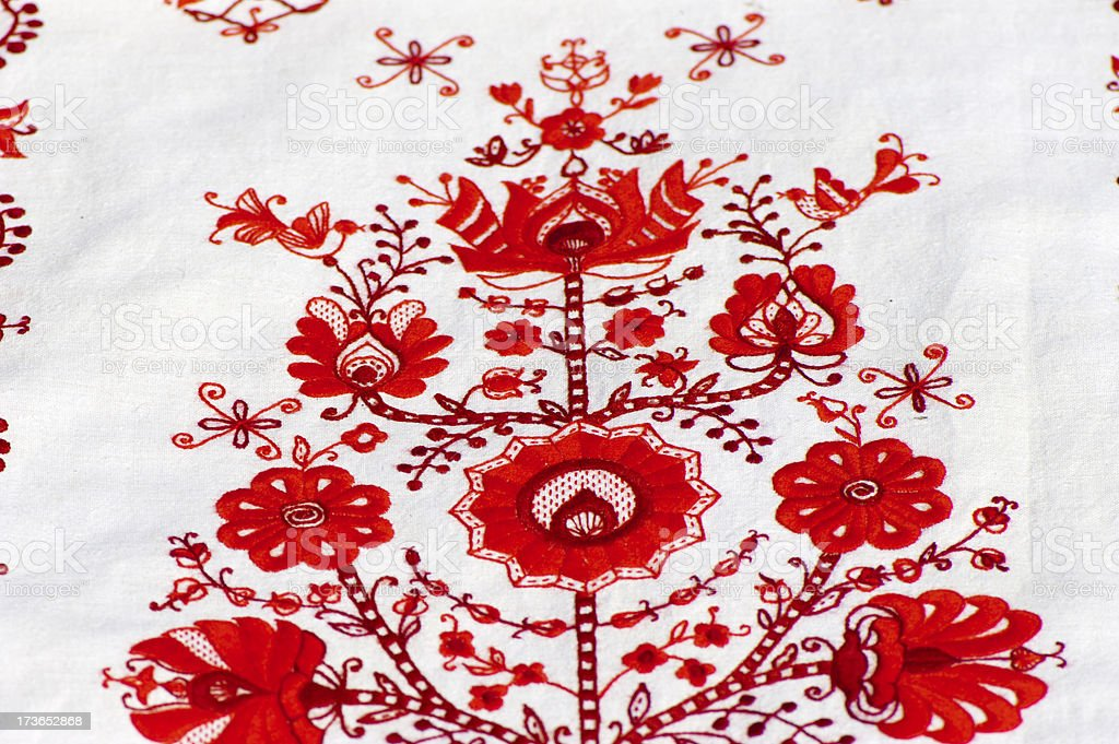 Fragment of traditional Ukrainian embroidery royalty-free stock photo