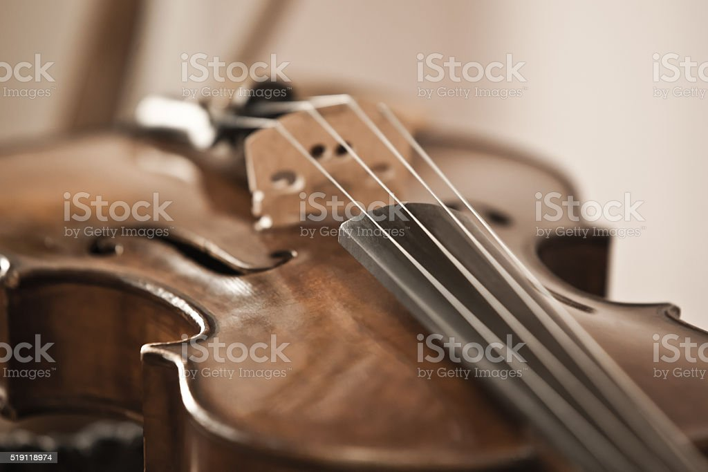 Fragment of violin stock photo