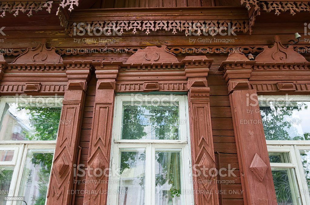 Fragment of wooden building of 19th - early 20th centuries, Gomel stock photo