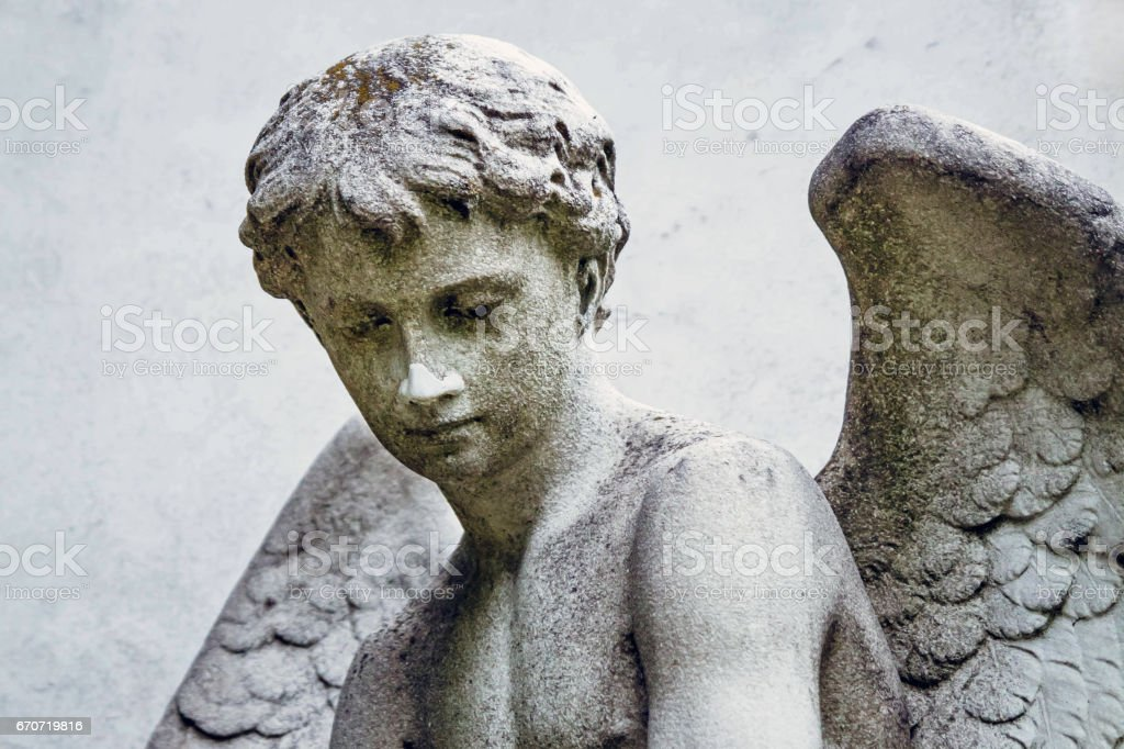 Fragment statue of angel stock photo