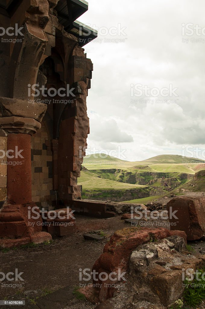 Fragment the Katerdrali in Turkey on the border at Armenia stock photo