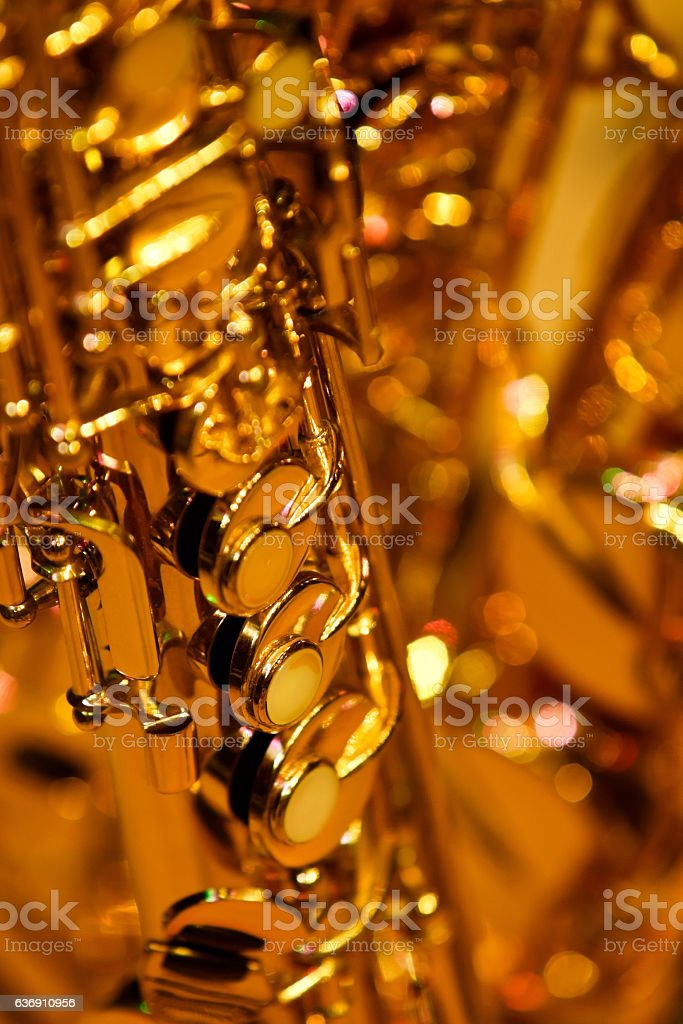 Fragment valves saxophone closeup stock photo