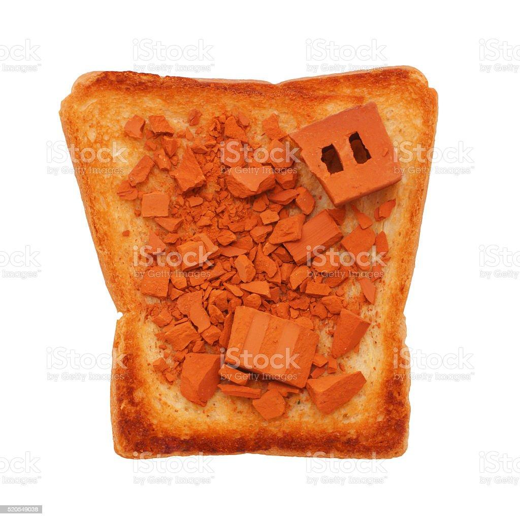 fragments of bricks on toasted bread stock photo