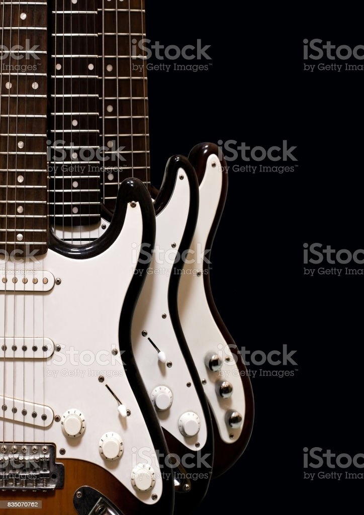 Fragments of electric guitars stock photo