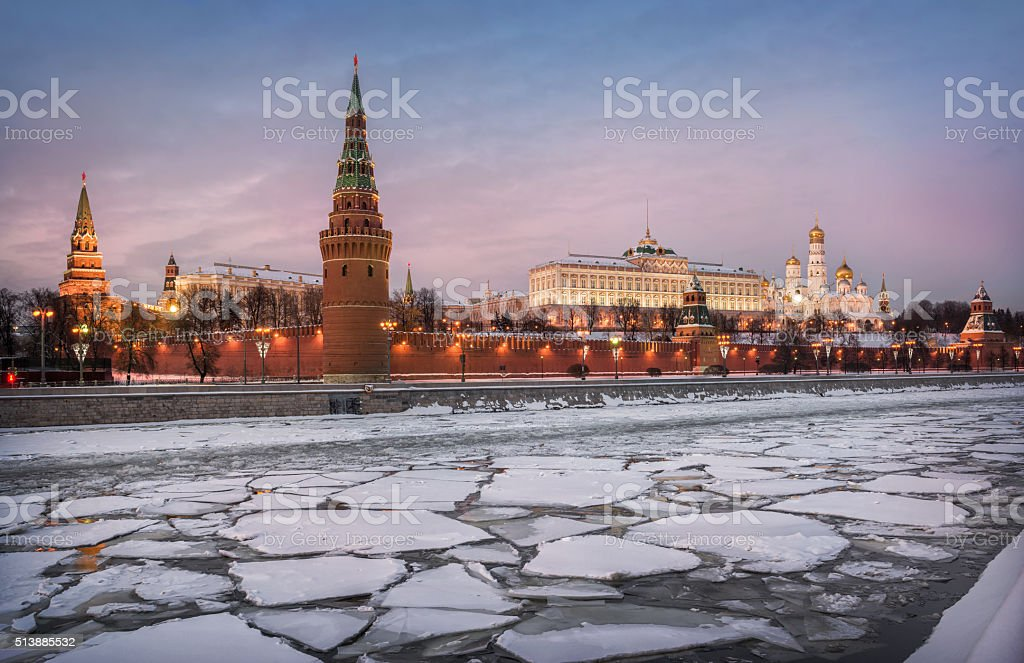 Fragments of the Moscow winter stock photo