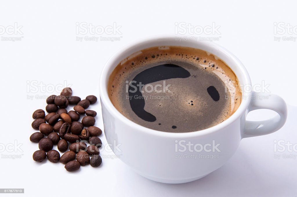 fragrant black coffee for breakfast stock photo