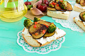 Fragrant Bruschetta with feta cheese, slices of eggplant