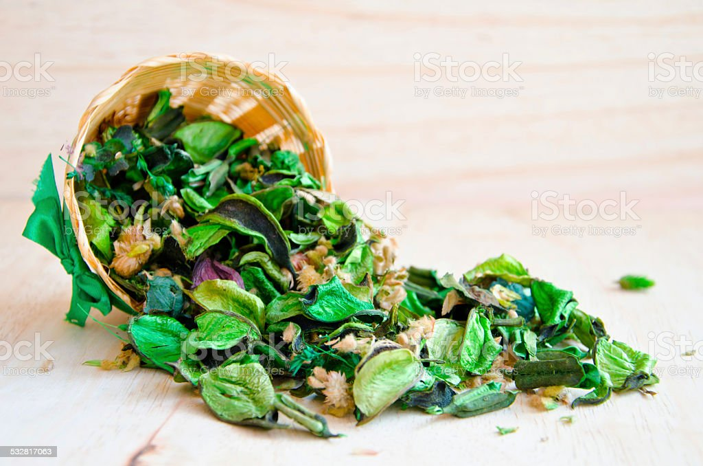 Fragrant natural potpourri with dried flowers. stock photo