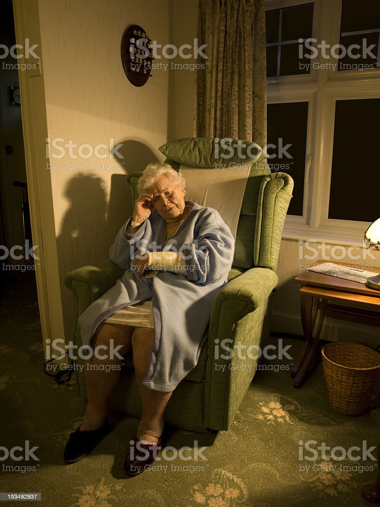 Frail suffering old lady with injury 4 stock photo
