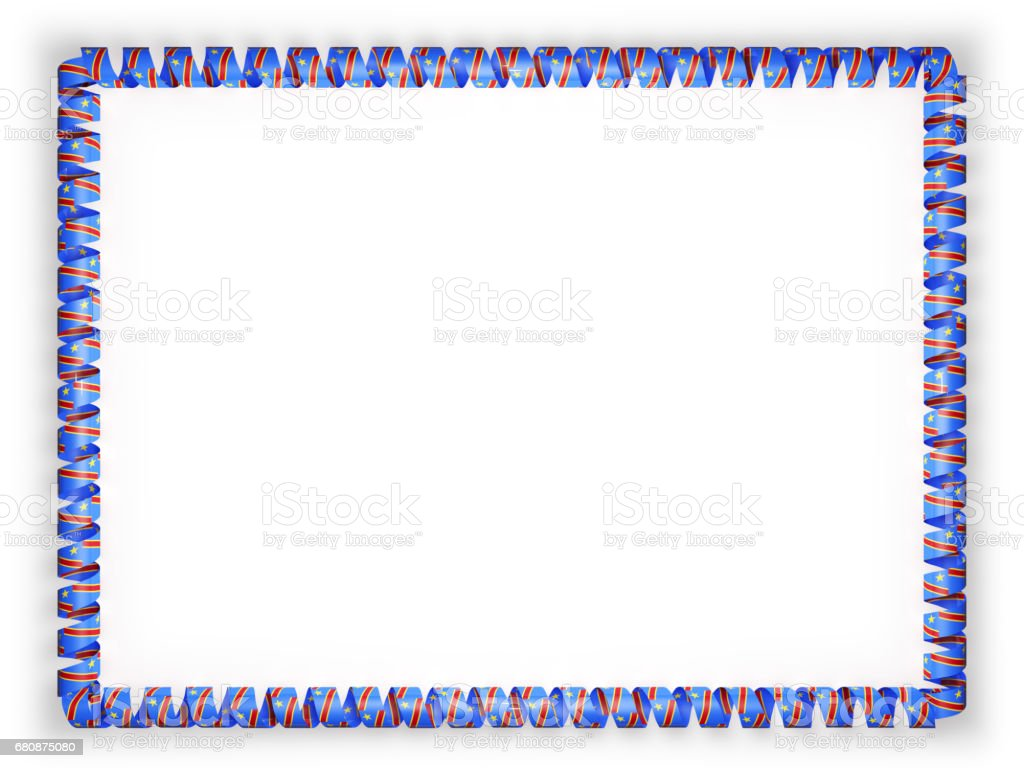 Frame and border of ribbon with the Republic of the Congo flag. 3d illustration stock photo