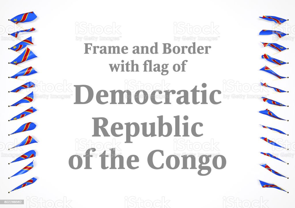 Frame and border with flag of Democratic Republic of the Congo. 3d illustration stock photo