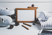 Frame and decorations on white background. Winter mock up