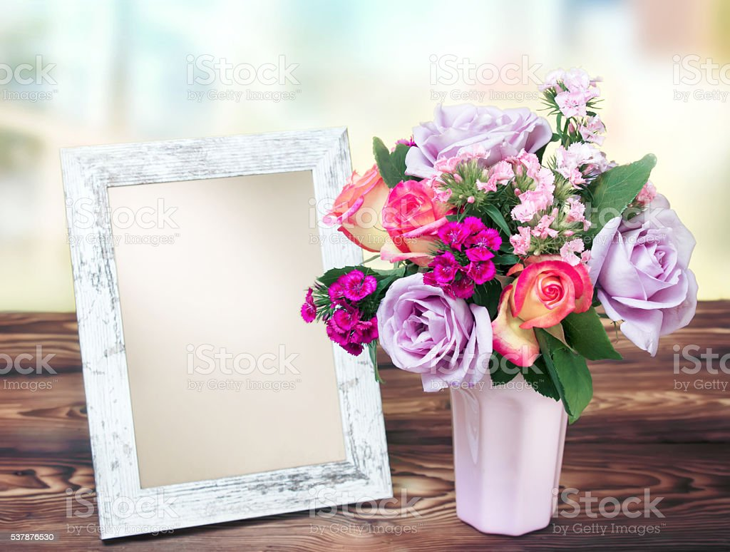 Frame and flowers bouqet holiday poster. stock photo