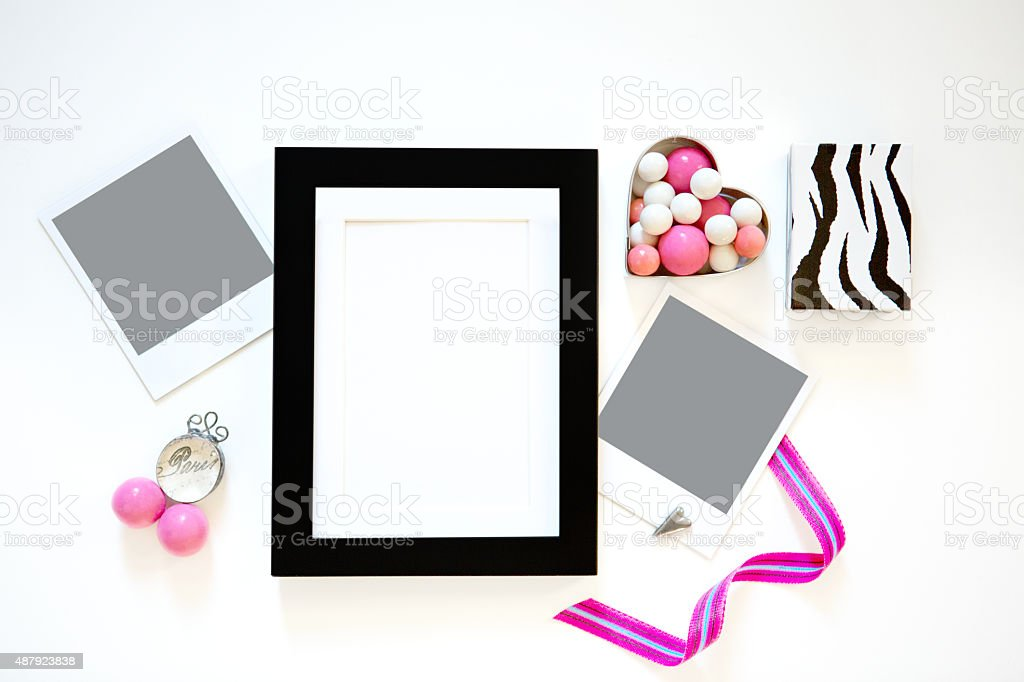 Frame and Picture Flatlay stock photo