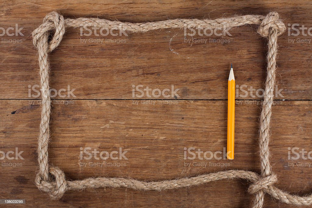 Frame composed of Rope and pencil royalty-free stock photo