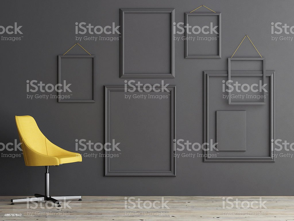 Frame composition on grey wall stock photo