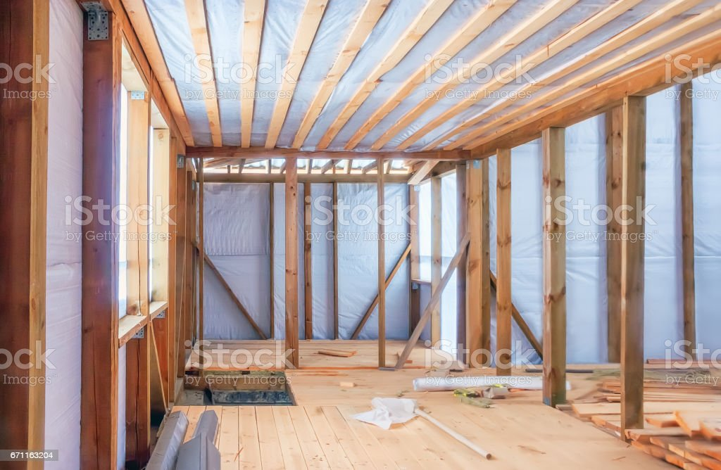 Frame Construction Of Wooden House stock photo