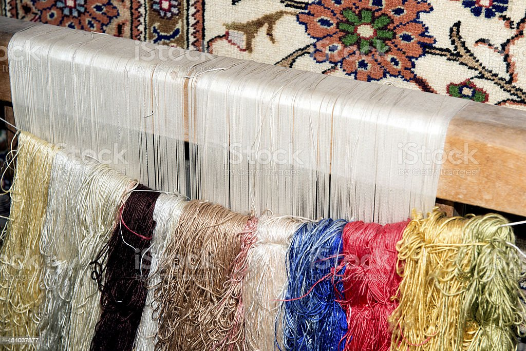 frame for making a turkish carpet stock photo