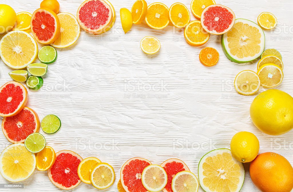 Frame from citrus fruits stock photo
