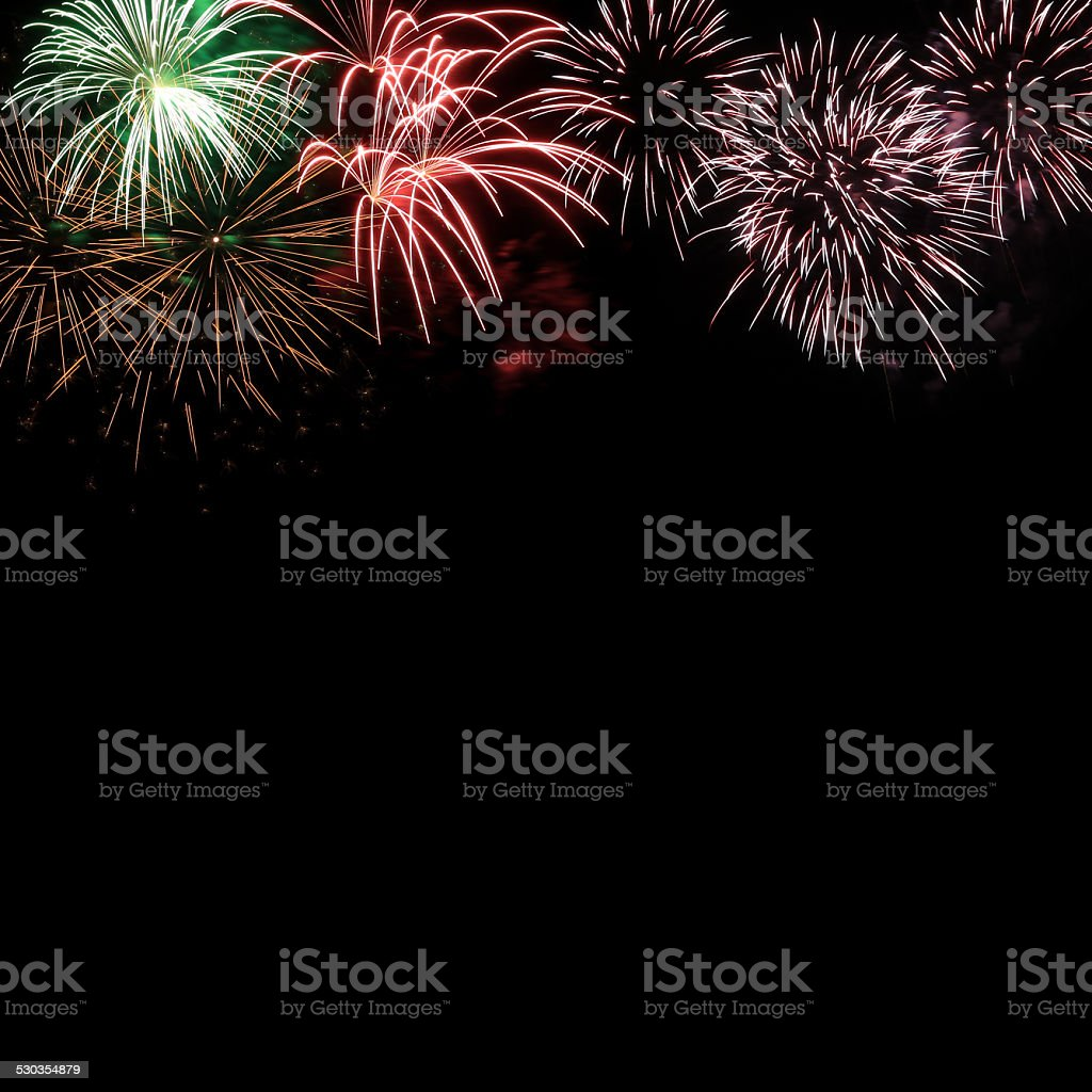 Frame from colorful holiday fireworks with space stock photo