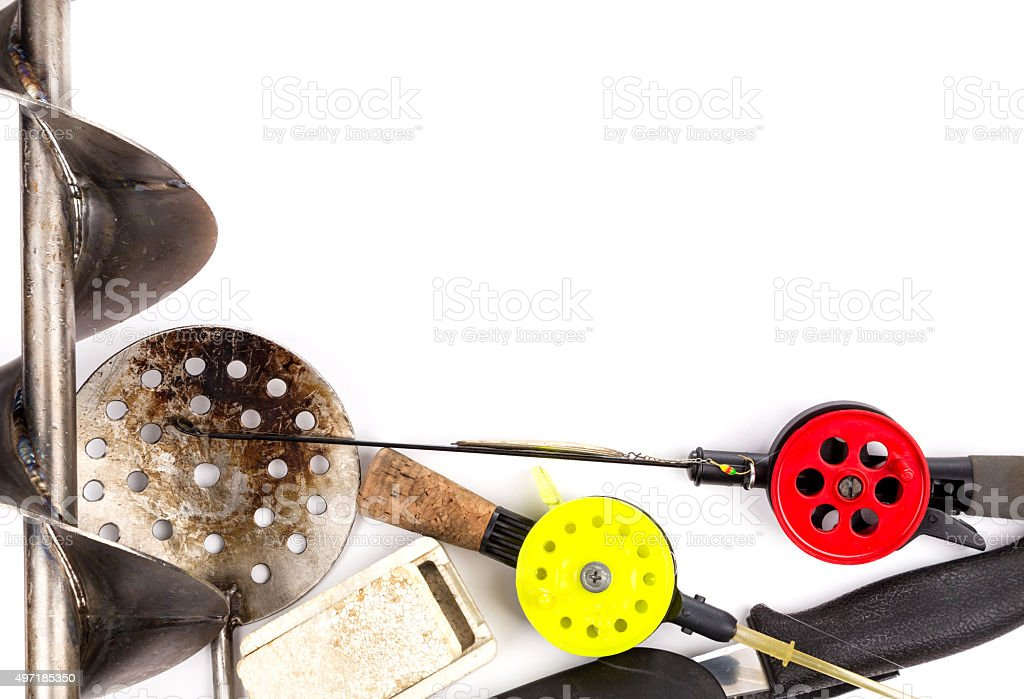 frame from ice fishing rods, tackles and equipment stock photo