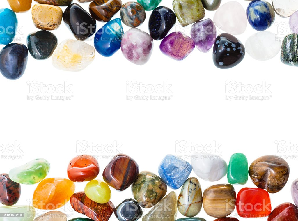 frame from natural mineral gemstones isolated stock photo
