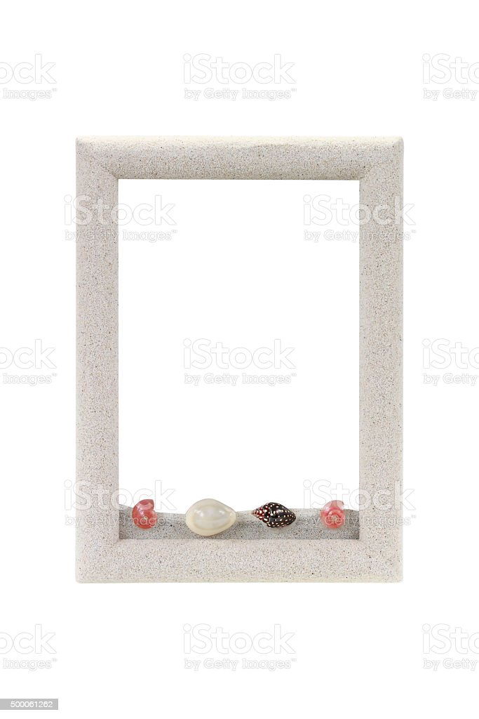 Frame from sand isolated on white for decoration stock photo