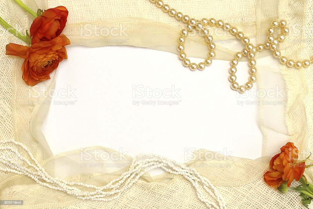 frame from the orange flowers, pearls and tender lace royalty-free stock photo